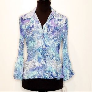 Allison Taylor Blue Design Stretch Button-Up. 285